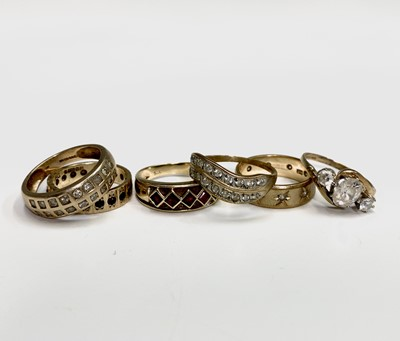 Lot 139 - Six 9ct gold rings variously set with diamonds...