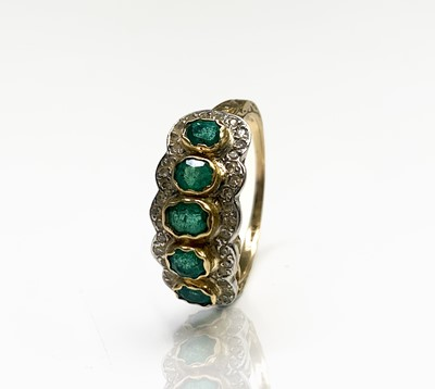 Lot 244 - An 18ct gold emerald and diamond quintuple...