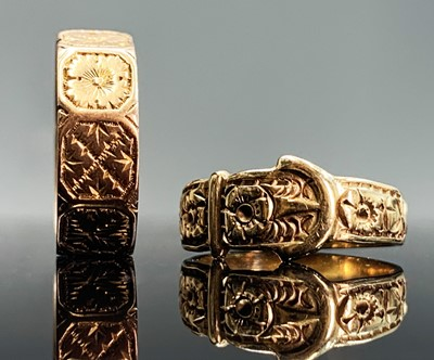 Lot 100 - A Victorian 9ct rose-gold nonagonal band each...