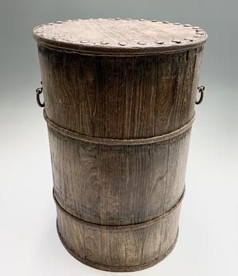 Lot 59 - A 19th century coopered elm grain bin of...