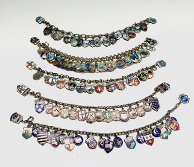 Lot 136 - Five chain bracelets each filled with a mass...