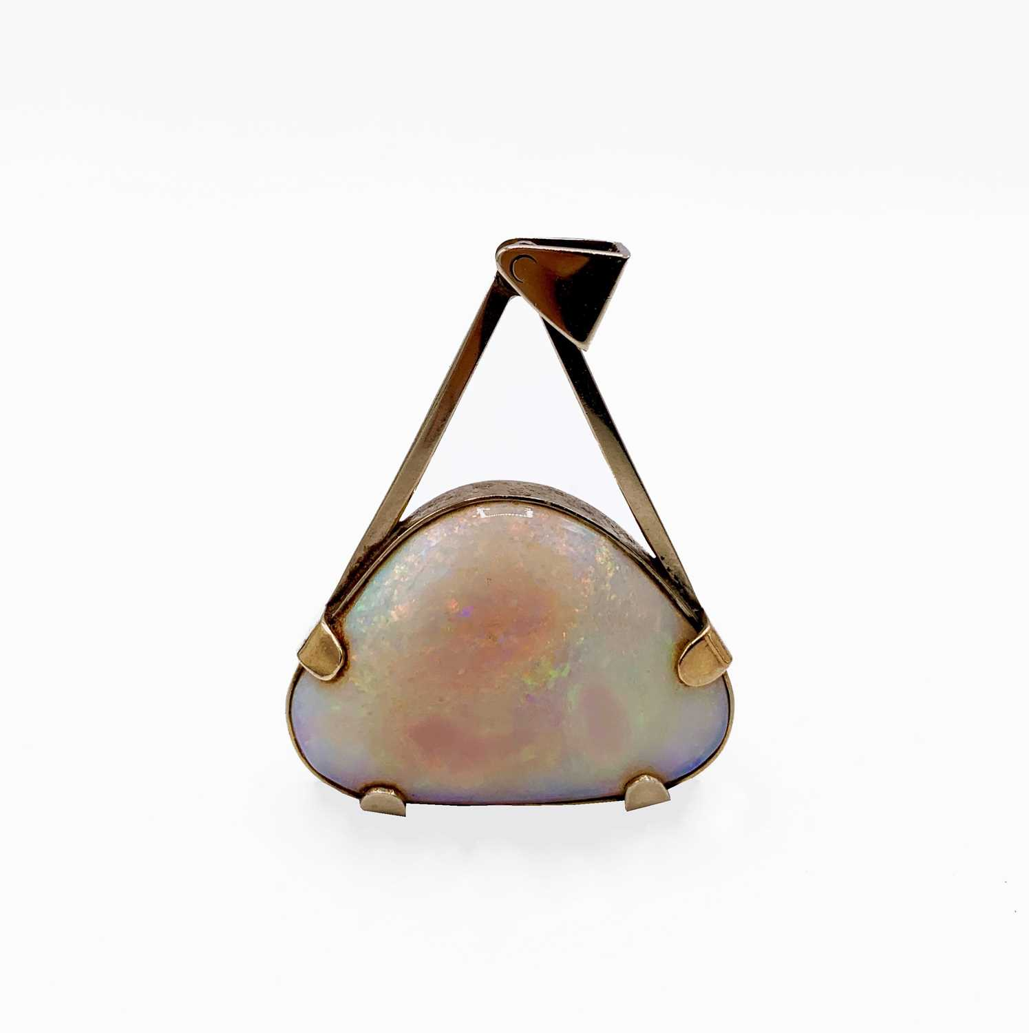 Lot 210 - A large triangular opal mounted in 9ct gold by...