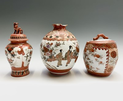 Lot 15 - A Japanese Kutani porcelain jar and cover and...