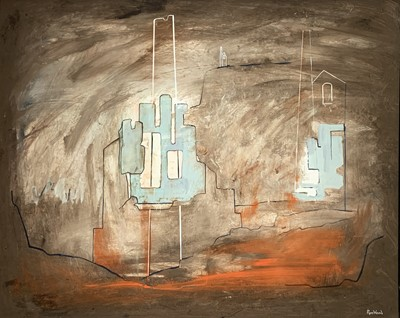 Lot 21 - Ron WOOD Mining Oil and mixed media Signed...