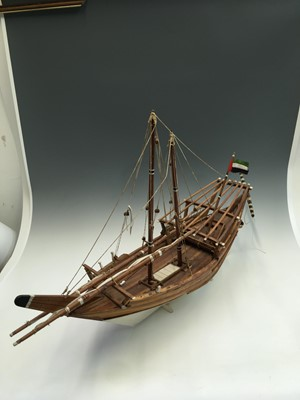 Lot 2 - A model sailing boat. Approx 96cm long and...