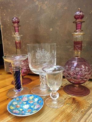 Lot 3 - A pair of red flash glass decanters, A 1977...