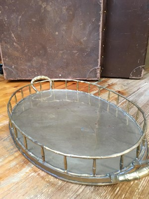 Lot 8 - A stylish brass tea tray, with bamboo effect...