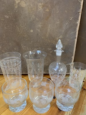 Lot 13 - A good collection of etched glass and cut glass.