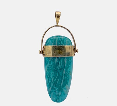 Lot 2 - An Egyptian revival style pendant in amazonite,...