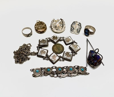 Lot 1039 - A Hong Kong silver and mother-of-pearl...