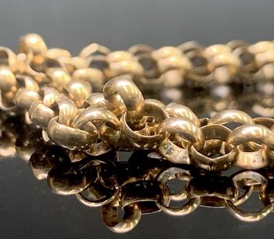 Lot 242 - A 9ct gold belcher link necklace 77cm 26.8gm