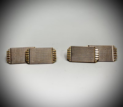 Lot 23 - Two pairs of 9ct gold cuff links 8.5gm