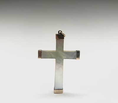 Lot 237 - A mother-of-pearl gold-mounted cross, one...