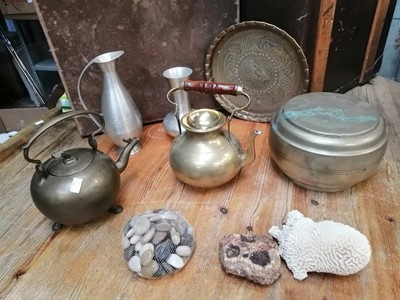 Lot 46 - An Eastern brass tray, brass kettle and other...