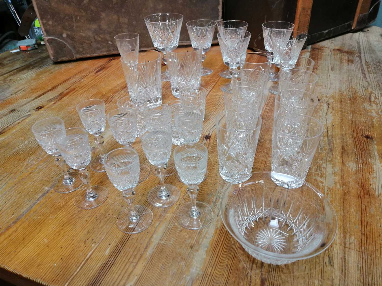 Lot 9 - Cut glass drinking glassware and other cut glass.