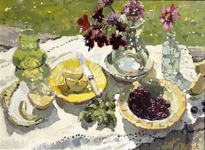 Lot 81 - Lizzie BLACK Blackberries and Apples Oil on...