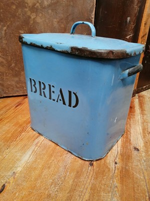 Lot 4 - A blue enamel bread bin.