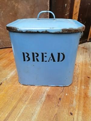 Lot 4 - A blue enamel bread bin.