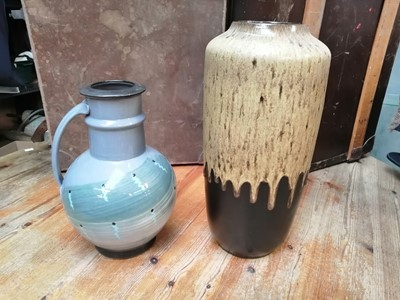 Lot 17 - A West German lava glaze vase, standing 44cm...
