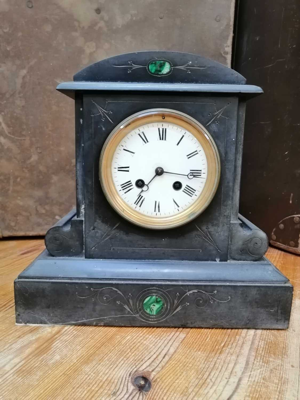 Lot 24 - A Good malachite inlaid slate mantle clock.