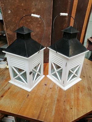 Lot 31 - Three hanging white painted wood-framed glass...