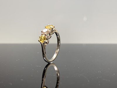 Lot 51 - A platinum three stone ring with a central...