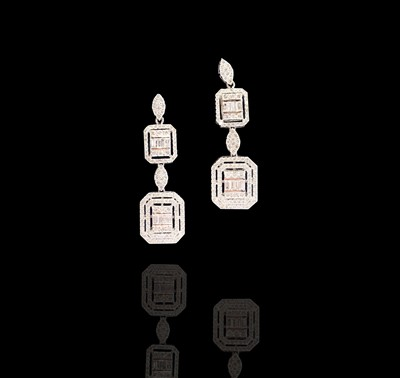 Lot 116 - A pair of elegant and glittering 18ct white...