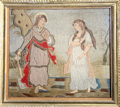 Lot 96 - A silk and stumpwork embroidered picture of...