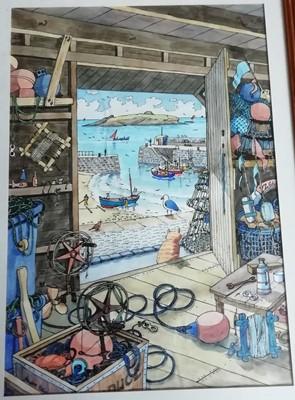 Lot 8 - André ELLISMullion IslandInk/watercolour 45 x...