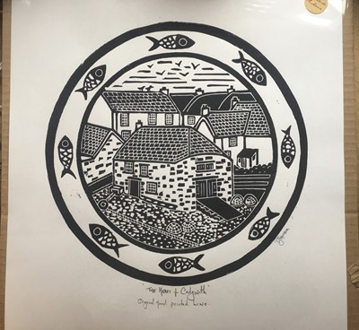 Lot 61 - Susie Jane THOMSONThe Heart of Cadgwith Lino...