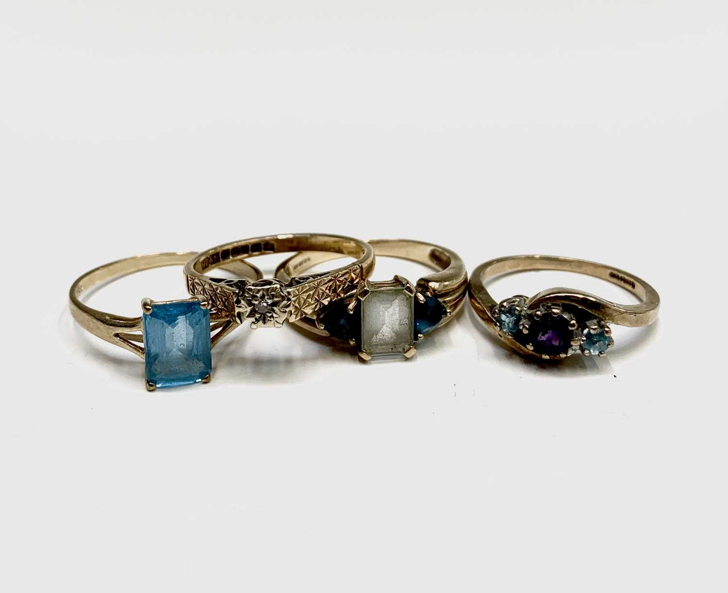 Lot 84 - Four 9ct gold rings 8.3gm