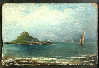 Lot 98 - St Michaels Mount Oil on board Indistinctly...