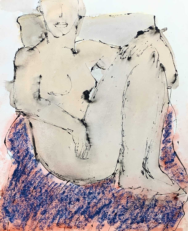 Lot 26 - John EMANUEL (1930) Seated Nude Mixed media 41...