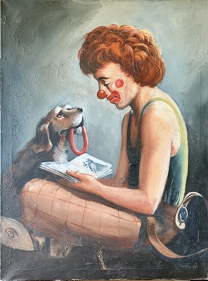 Lot 132 - Keith ENGLISH (1935-2016) Clown Oil on canvas...