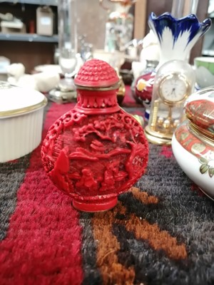 Lot 5 - A Chinese red cinnabar lacquer snuff bottle...