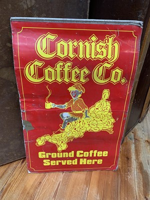 Lot 16 - A double-sided metal sign for Cornish Coffee Co.