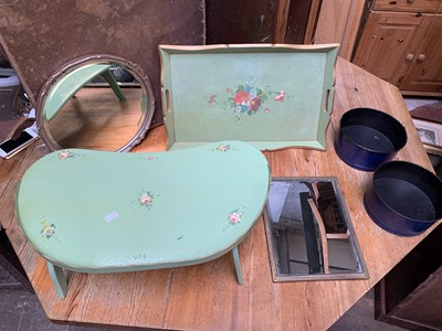 Lot 20 - A folding green painted wooden bed tray with...