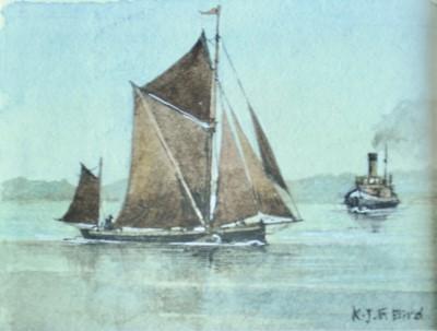 Lot 29 - K J F BIRD Barge on River Orwell Watercolour 4...