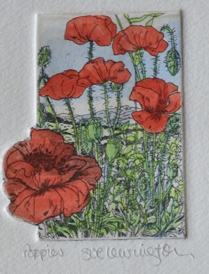 Lot 6 - Sue LEWINGTON Poppies Hand coloured etching 7...