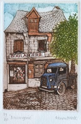 Lot 40 - Richard WADE Boulangerie Coloured etching...