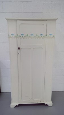 Lot 1 - A white-painted and stencilled single wardrobe...