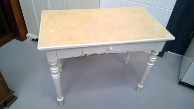 Lot 2 - A white painted old pine side table with...