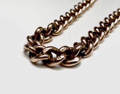 Lot 172 - A 9ct gold graduated curb link watch chain 54.8gm
