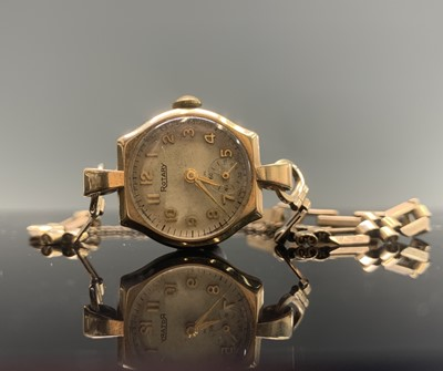 Lot 223 - A ladies Rotary gold cased wristwatch on gold...