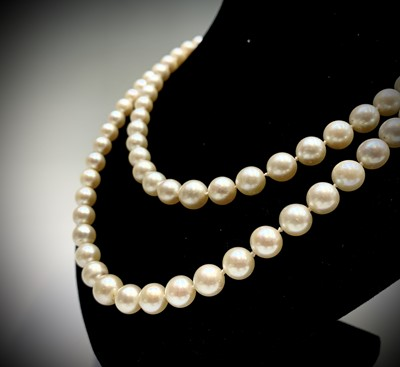 Lot 105 - An impressive double strand pearl necklace...