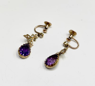 Lot 76 - A pair of Victorian 15ct gold amethyst and...