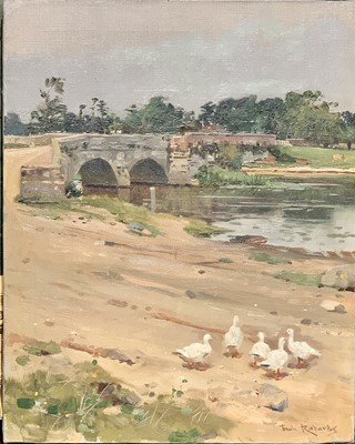 Lot 130 - Frank RICHARDS (1863-1935) A Gaggle of Geese...