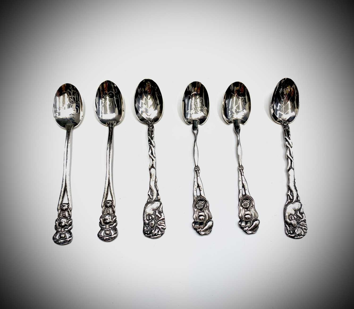 Lot 1024 - Six Chinese silver teaspoons 114gm