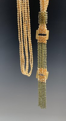 Lot 214 - Costume Jewellery Long yellow pearl 'Flapper'...