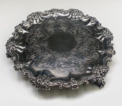 Lot 1001 - A William IV Silver Salver with scrolling...
